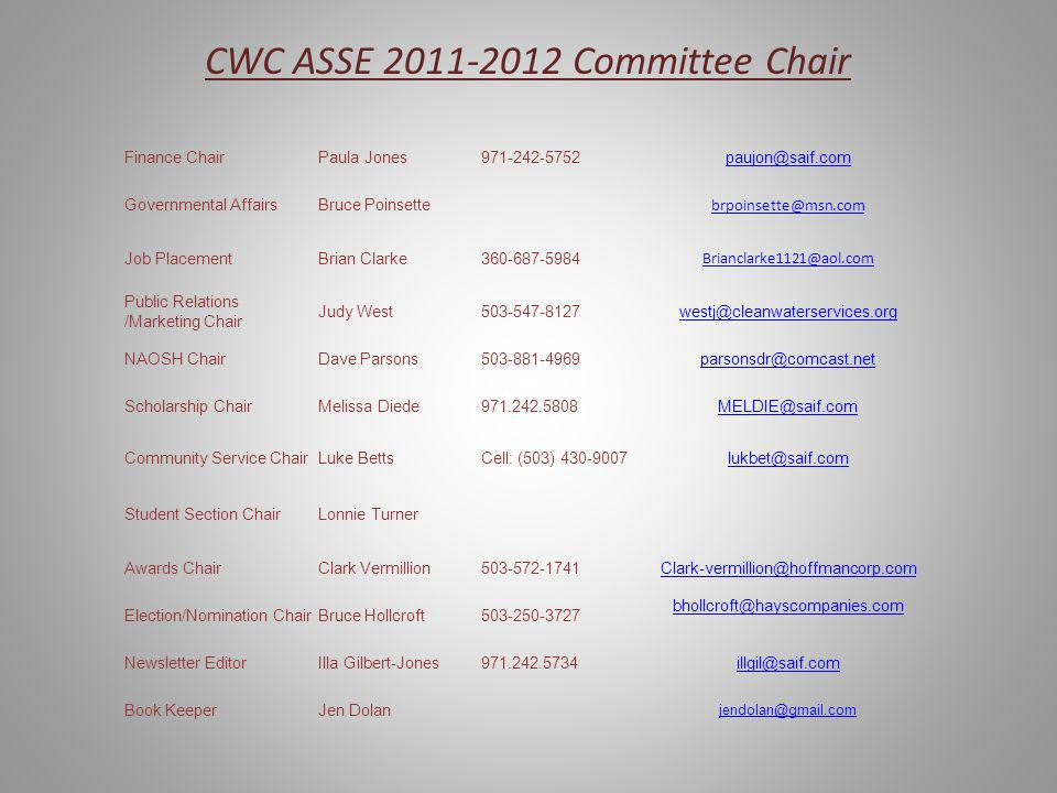 CWC ASSE 2011-2012 Committee Chair Finance ChairPaula Jones971-242-5752paujon@saif.com Governmental AffairsBruce Poinsette brpoinsette@msn.com Job PlacementBrian Clarke360-687-5984 Brianclarke1121@aol.com Public Relations /Marketing Chair Judy West503-547-8127westj@cleanwaterservices.org NAOSH ChairDave Parsons503-881-4969parsonsdr@comcast.net Scholarship ChairMelissa Diede971.242.5808MELDIE@saif.com Community Service ChairLuke BettsCell: (503) 430-9007lukbet@saif.com Student Section ChairLonnie Turner Awards ChairClark Vermillion503-572-1741Clark-vermillion@hoffmancorp.com Election/Nomination ChairBruce Hollcroft503-250-3727 bhollcroft@hayscompanies.com Newsletter EditorIlla Gilbert-Jones971.242.5734illgil@saif.com Book KeeperJen Dolan jendolan@gmail.com
