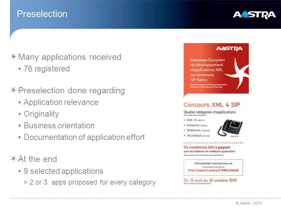 © Aastra – 2010 Preselection Many applications received 76 registered Preselection done regarding Application relevance Originality Business orientation Documentation of application effort At the end 9 selected applications >2 or 3 apps proposed for every category