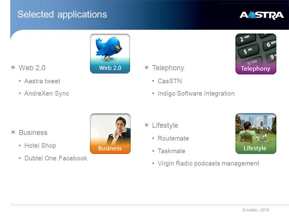 © Aastra – 2010 Selected applications Web 2.0 Aastra tweet AndreXen Sync Business Hotel Shop Dubtel One Facebook Telephony CasSTN Indigo Software Integration Lifestyle Routemate Taskmate Virgin Radio podcasts management