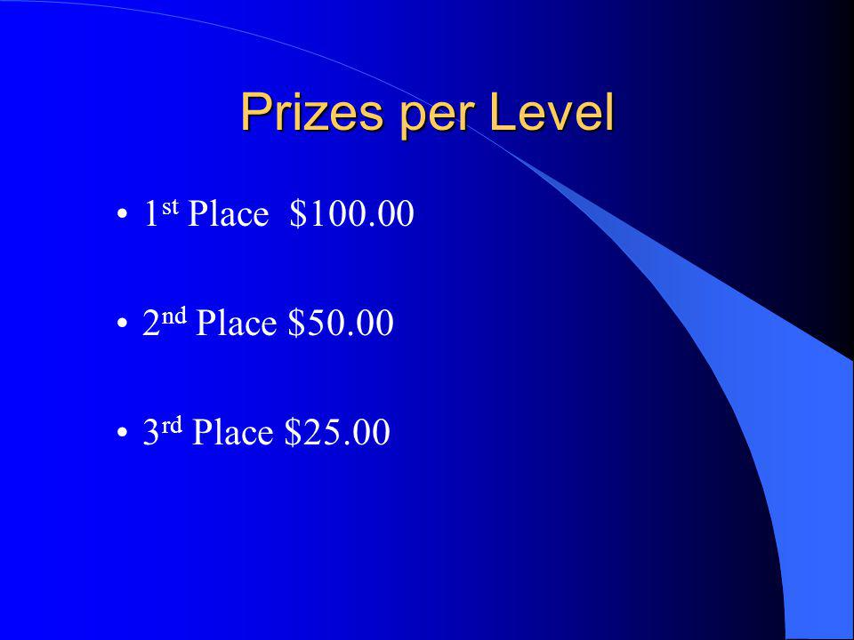 Prizes per Level 1 st Place $100.00 2 nd Place $50.00 3 rd Place $25.00