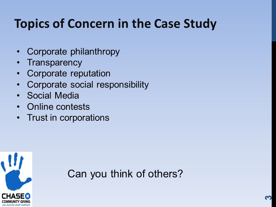 3 Topics of Concern in the Case Study Corporate philanthropy Transparency Corporate reputation Corporate social responsibility Social Media Online contests Trust in corporations Can you think of others