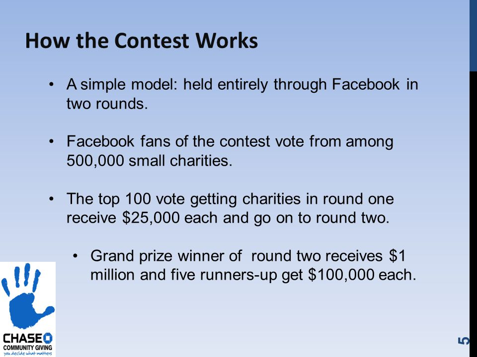 5 How the Contest Works A simple model: held entirely through Facebook in two rounds.