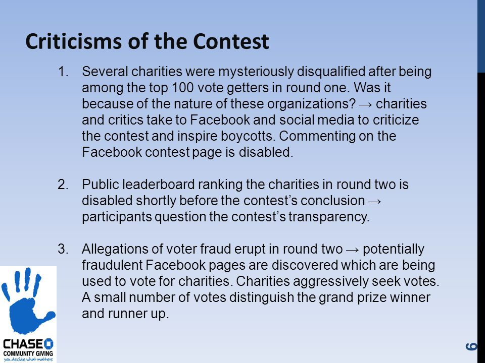 6 Criticisms of the Contest 1.Several charities were mysteriously disqualified after being among the top 100 vote getters in round one.
