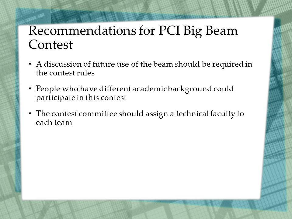 Recommendations for PCI Big Beam Contest A discussion of future use of the beam should be required in the contest rules People who have different academic background could participate in this contest The contest committee should assign a technical faculty to each team