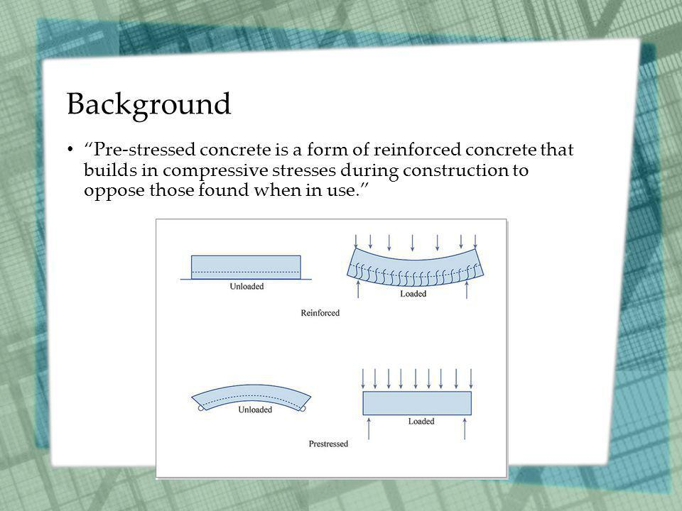 Background Pre-stressed concrete is a form of reinforced concrete that builds in compressive stresses during construction to oppose those found when in use.