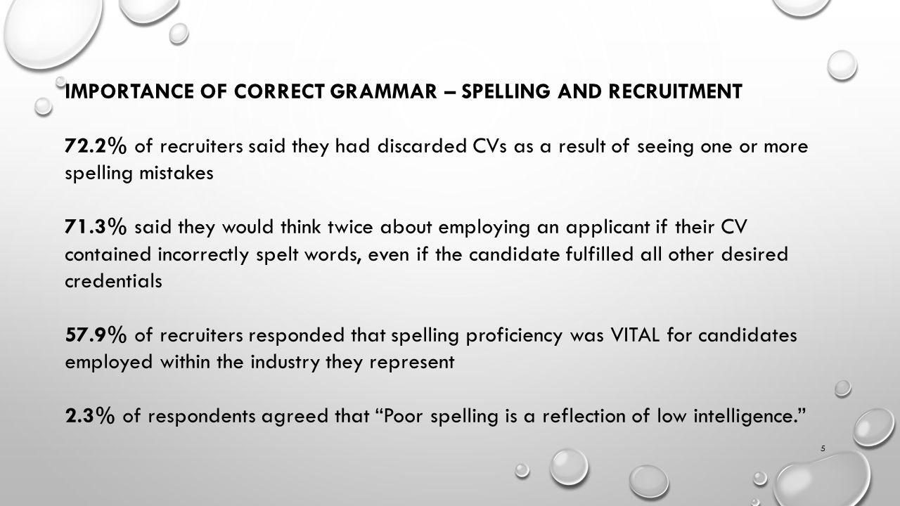 5 IMPORTANCE OF CORRECT GRAMMAR – SPELLING AND RECRUITMENT 72.2% of recruiters said they had discarded CVs as a result of seeing one or more spelling mistakes 71.3% said they would think twice about employing an applicant if their CV contained incorrectly spelt words, even if the candidate fulfilled all other desired credentials 57.9% of recruiters responded that spelling proficiency was VITAL for candidates employed within the industry they represent 2.3% of respondents agreed that Poor spelling is a reflection of low intelligence.