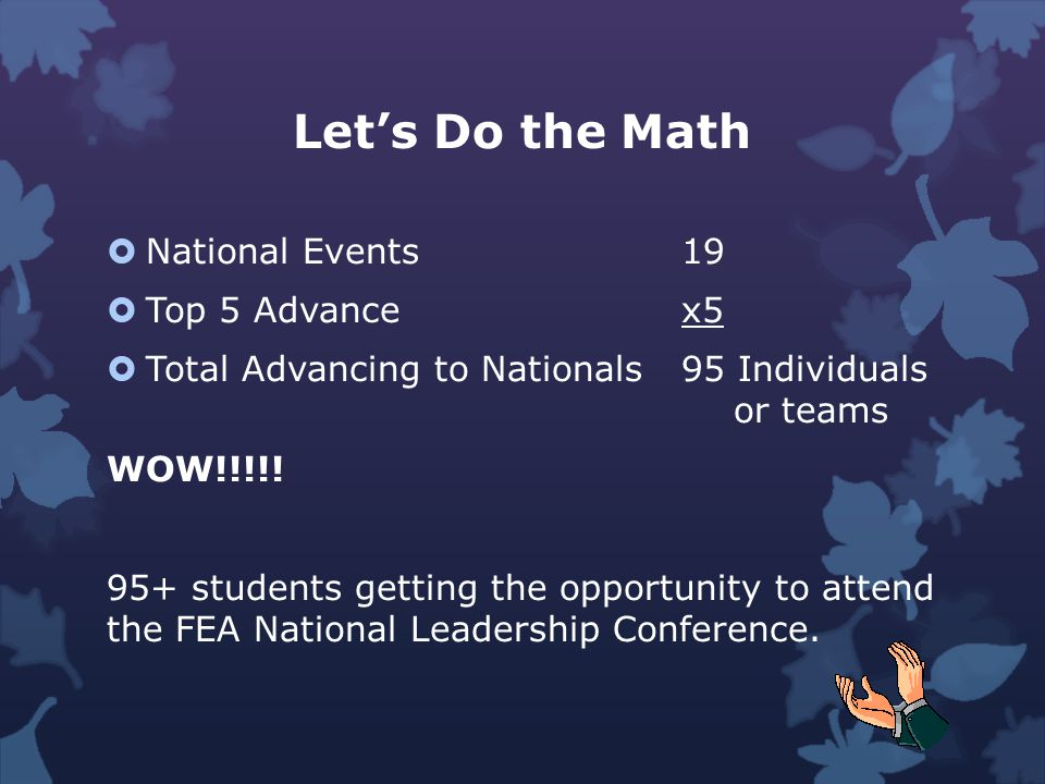 National Events The top five (5) in all National FEA events will advance to nationals.