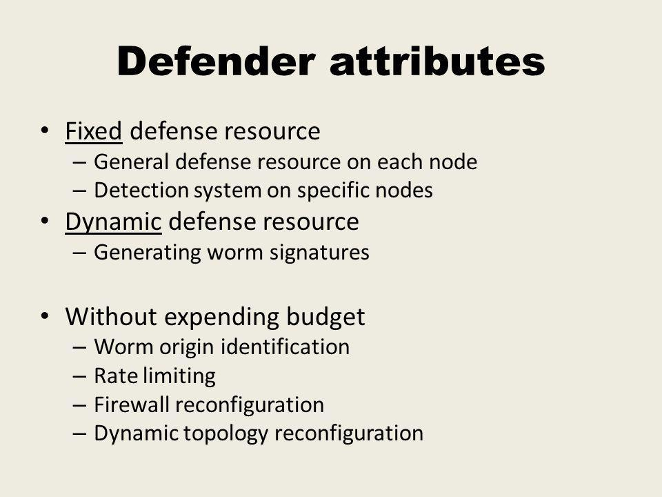 Defender attributes Fixed defense resource – General defense resource on each node – Detection system on specific nodes Dynamic defense resource – Generating worm signatures Without expending budget – Worm origin identification – Rate limiting – Firewall reconfiguration – Dynamic topology reconfiguration