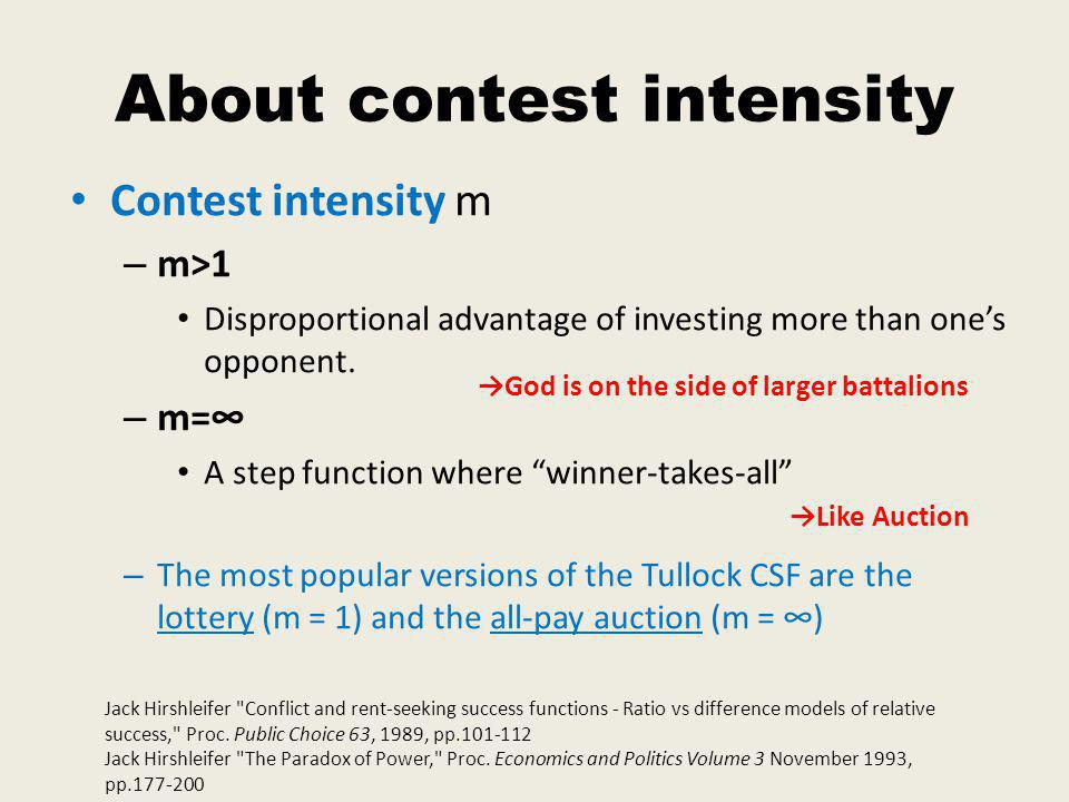 About contest intensity Contest intensity m – m>1 Disproportional advantage of investing more than ones opponent.