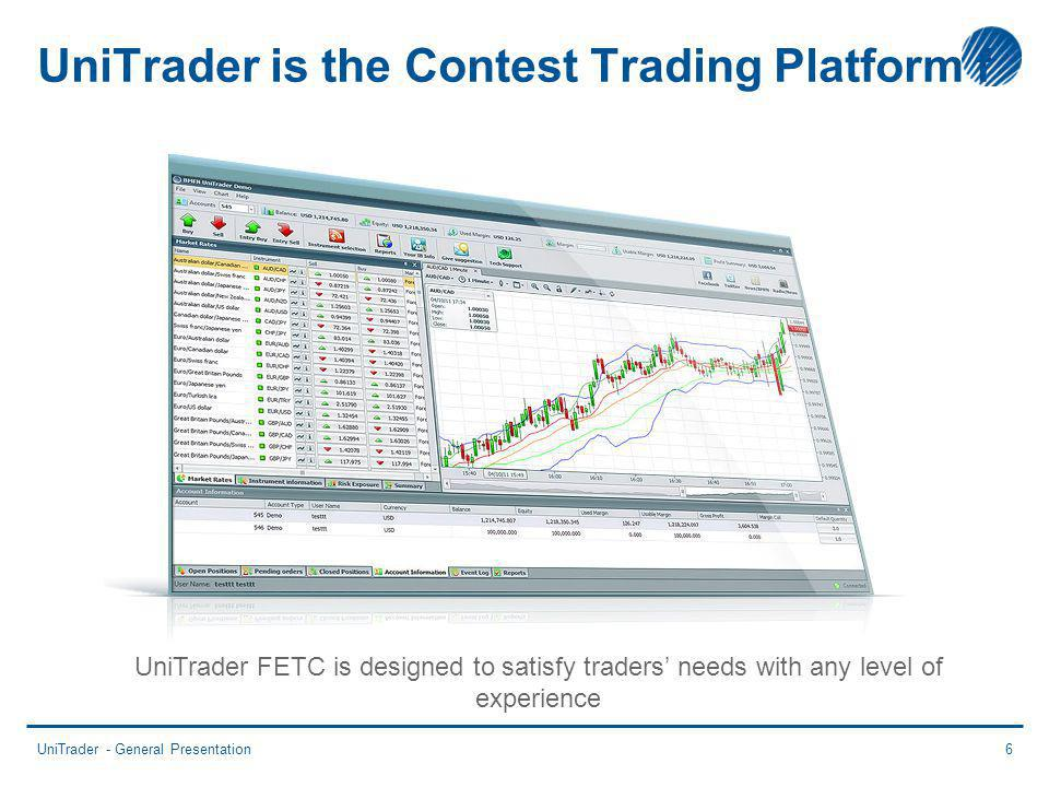 UniTrader is the Contest Trading Platform f UniTrader - General Presentation6 UniTrader FETC is designed to satisfy traders needs with any level of experience