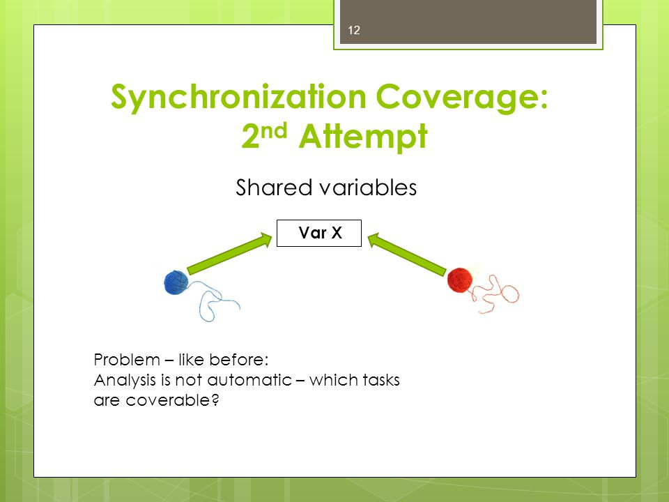 Synchronization Coverage: 2 nd Attempt Shared variables Var X Problem – like before: Analysis is not automatic – which tasks are coverable.