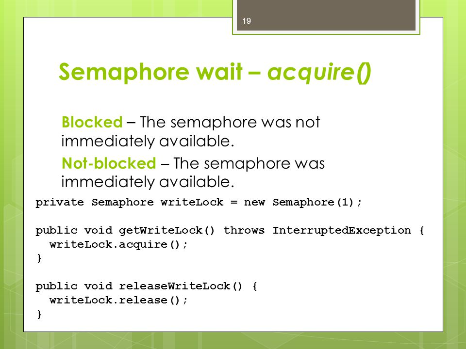 Semaphore wait – acquire() Blocked – The semaphore was not immediately available.
