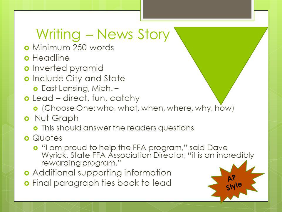 Writing – News Story Minimum 250 words Headline Inverted pyramid Include City and State East Lansing, Mich.