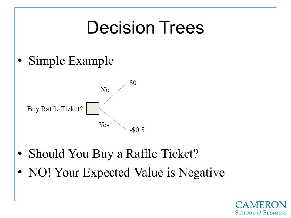 Decision Trees Simple Example Should You Buy a Raffle Ticket.