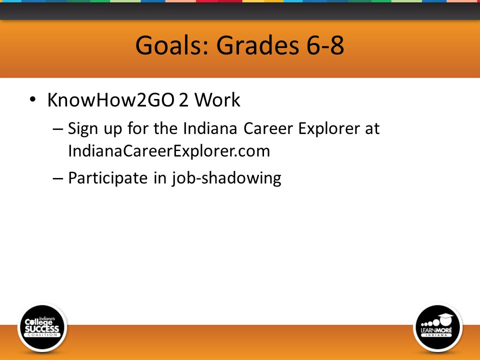 Goals: Grades 6-8 KnowHow2GO 2 Work – Sign up for the Indiana Career Explorer at IndianaCareerExplorer.com – Participate in job-shadowing