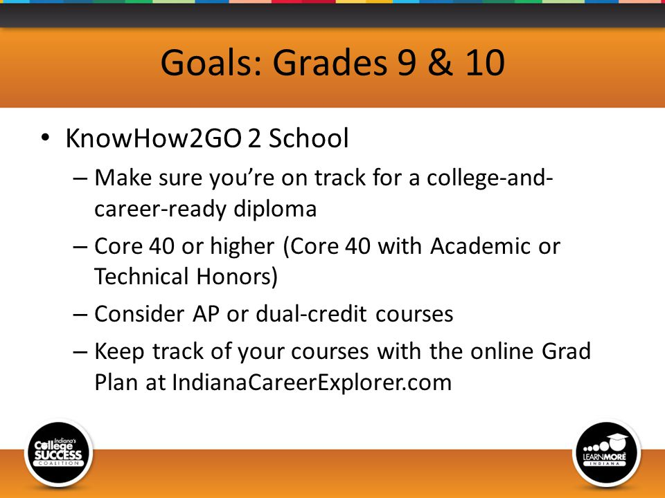 Goals: Grades 9 & 10 KnowHow2GO 2 School – Make sure youre on track for a college-and- career-ready diploma – Core 40 or higher (Core 40 with Academic or Technical Honors) – Consider AP or dual-credit courses – Keep track of your courses with the online Grad Plan at IndianaCareerExplorer.com