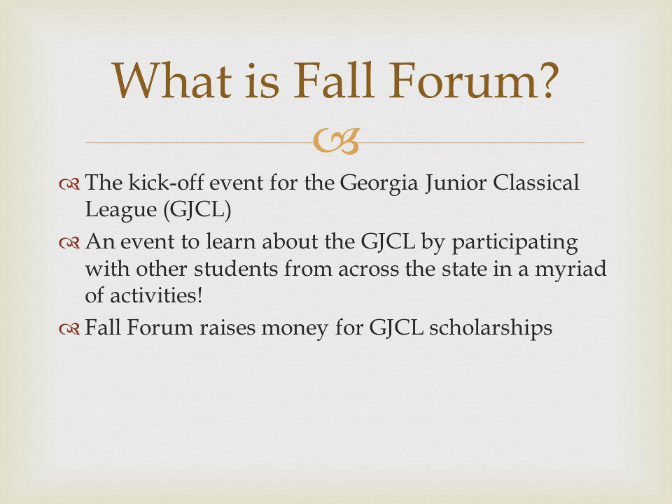 The kick-off event for the Georgia Junior Classical League (GJCL) An event to learn about the GJCL by participating with other students from across the state in a myriad of activities.
