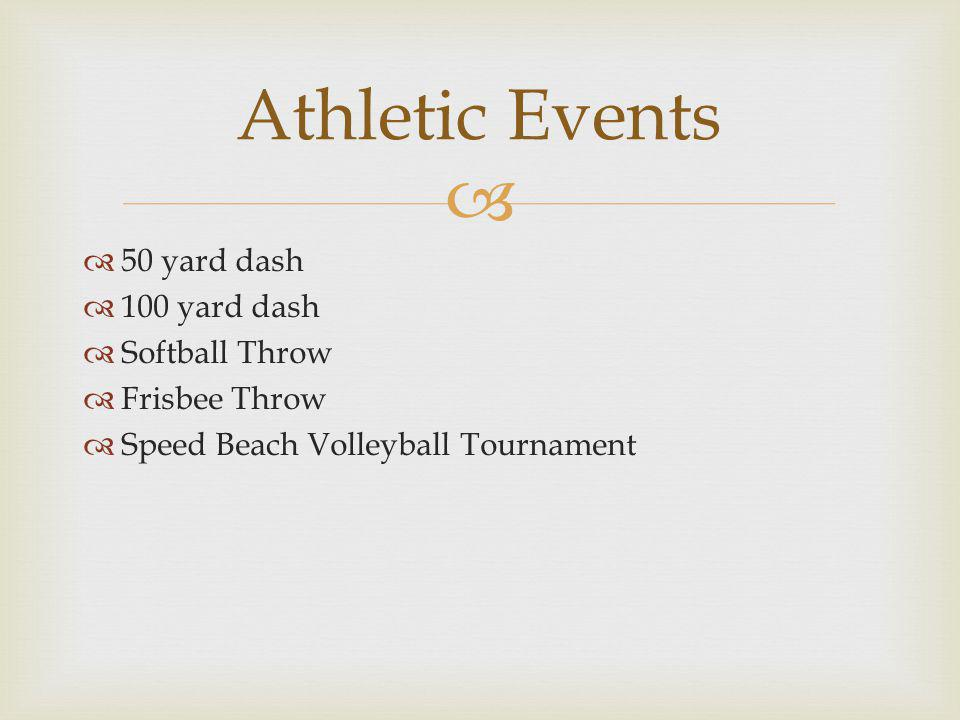 50 yard dash 100 yard dash Softball Throw Frisbee Throw Speed Beach Volleyball Tournament Athletic Events
