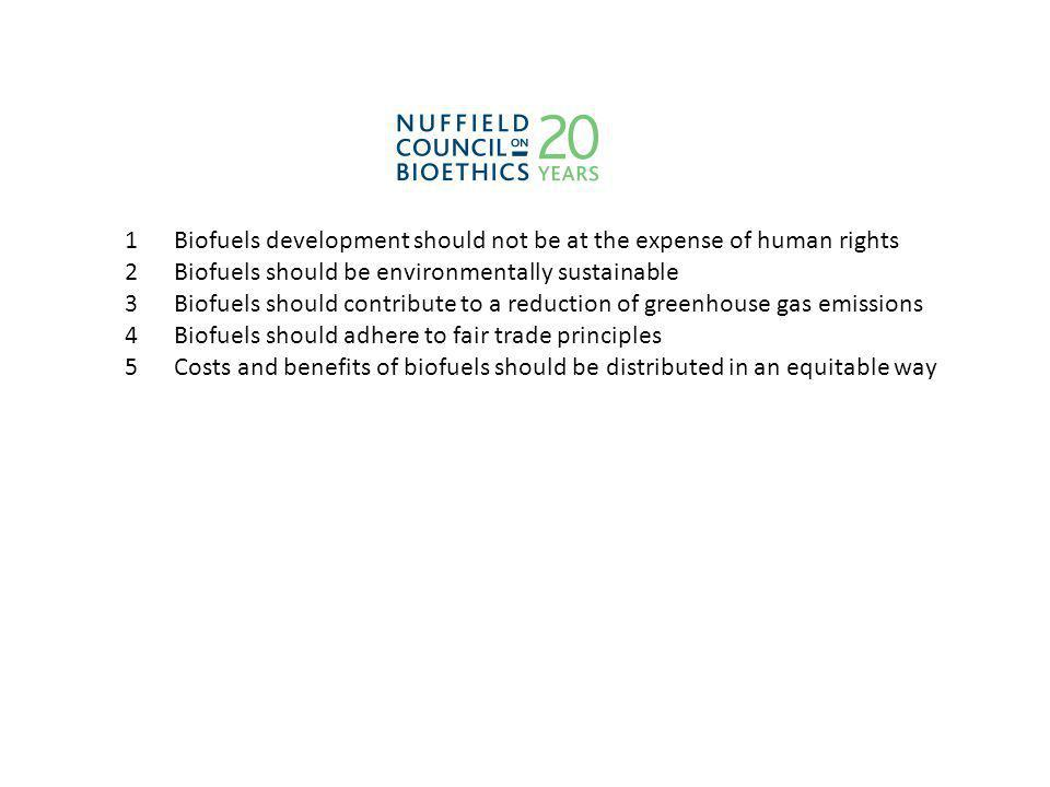 1 Biofuels development should not be at the expense of human rights 2 Biofuels should be environmentally sustainable 3 Biofuels should contribute to a reduction of greenhouse gas emissions 4 Biofuels should adhere to fair trade principles 5 Costs and benefits of biofuels should be distributed in an equitable way