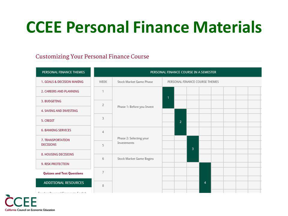 CCEE Personal Finance Materials