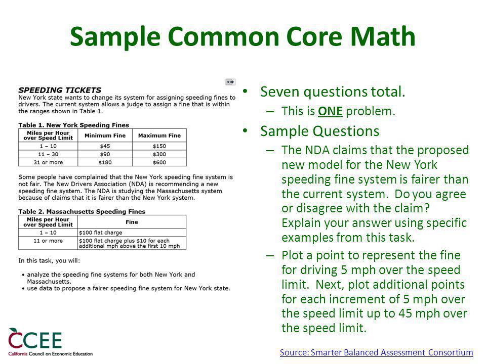 Sample Common Core Math Seven questions total. – This is ONE problem.