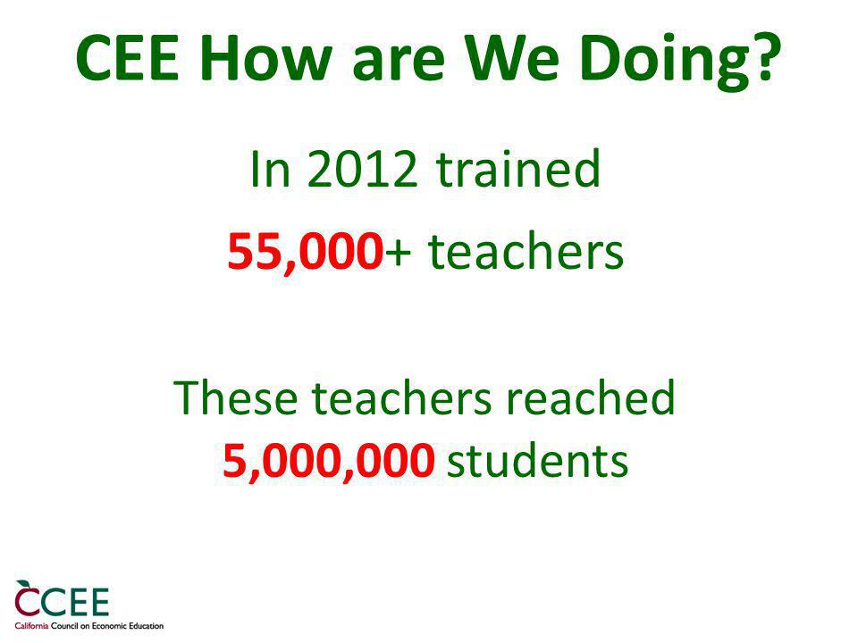 CEE How are We Doing In 2012 trained 55,000+ teachers These teachers reached 5,000,000 students