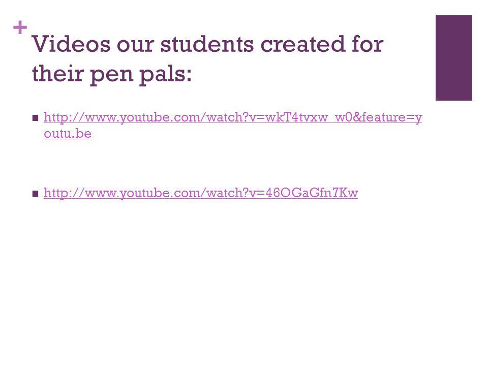 + Videos our students created for their pen pals: http://www.youtube.com/watch v=wkT4tvxw_w0&feature=y outu.be http://www.youtube.com/watch v=wkT4tvxw_w0&feature=y outu.be http://www.youtube.com/watch v=46OGaGfn7Kw
