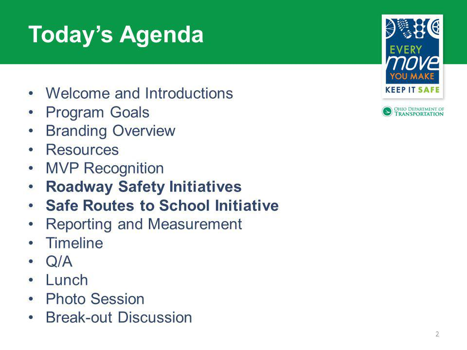 Welcome and Introductions Program Goals Branding Overview Resources MVP Recognition Roadway Safety Initiatives Safe Routes to School Initiative Reporting and Measurement Timeline Q/A Lunch Photo Session Break-out Discussion 2 Todays Agenda