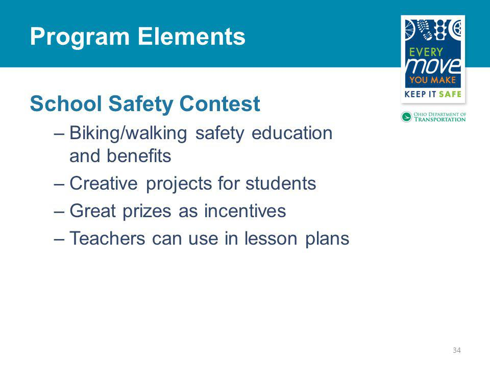 School Safety Contest –Biking/walking safety education and benefits –Creative projects for students –Great prizes as incentives –Teachers can use in lesson plans 34 Program Elements