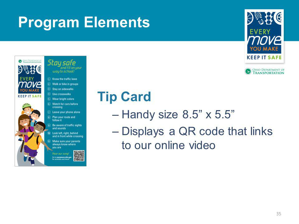Tip Card –Handy size 8.5 x 5.5 –Displays a QR code that links to our online video 35 Program Elements