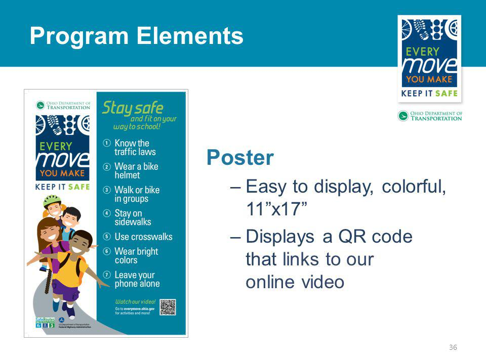 Poster –Easy to display, colorful, 11x17 –Displays a QR code that links to our online video 36 Program Elements