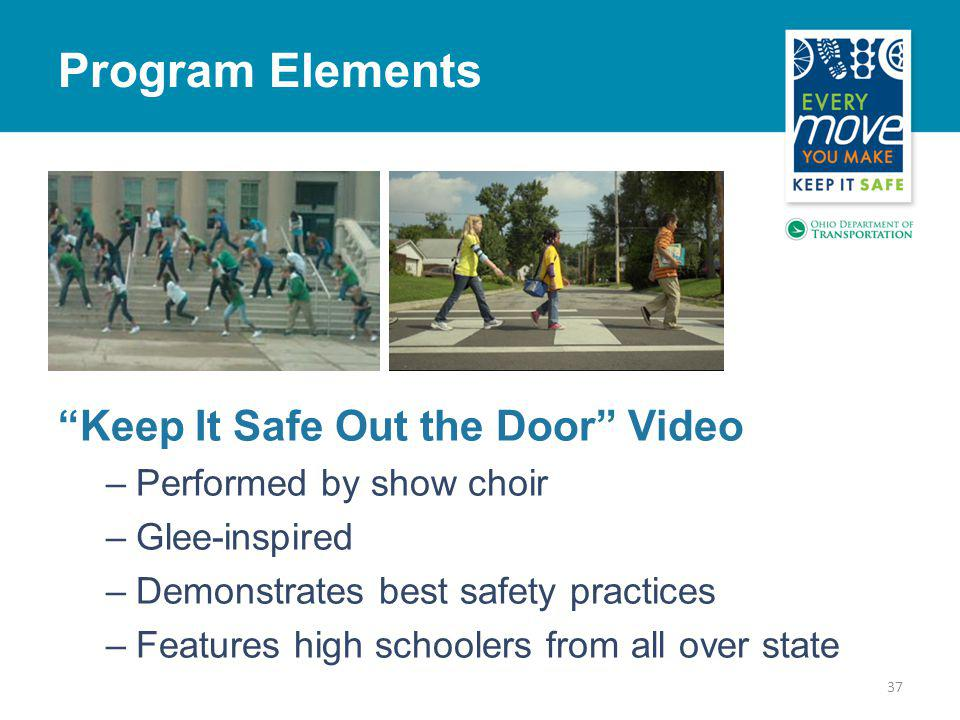 37 Program Elements Keep It Safe Out the Door Video –Performed by show choir –Glee-inspired –Demonstrates best safety practices –Features high schoolers from all over state