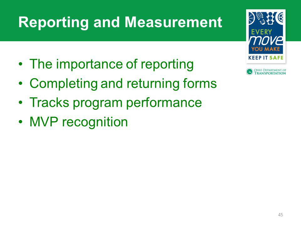 Reporting and Measurement The importance of reporting Completing and returning forms Tracks program performance MVP recognition 45