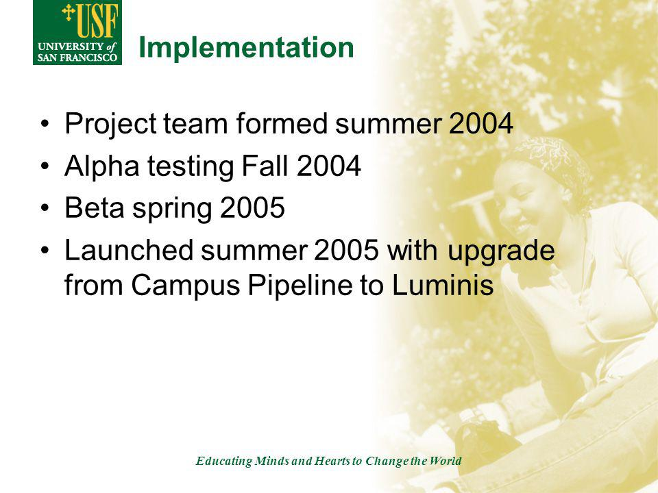 Educating Minds and Hearts to Change the World Implementation Project team formed summer 2004 Alpha testing Fall 2004 Beta spring 2005 Launched summer 2005 with upgrade from Campus Pipeline to Luminis