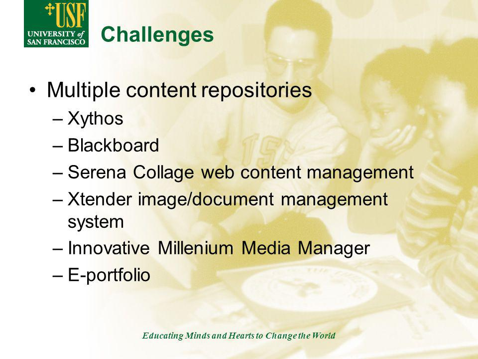 Educating Minds and Hearts to Change the World Challenges Multiple content repositories –Xythos –Blackboard –Serena Collage web content management –Xtender image/document management system –Innovative Millenium Media Manager –E-portfolio