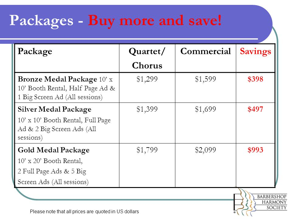 Packages - Buy more and save.
