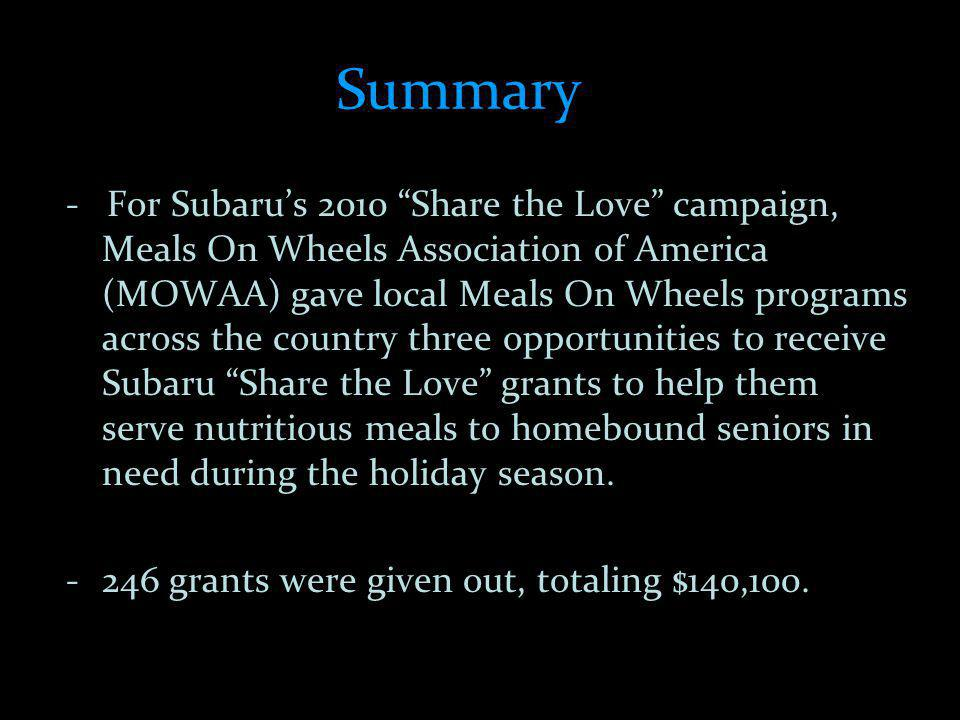 Summary - For Subarus 2010 Share the Love campaign, Meals On Wheels Association of America (MOWAA) gave local Meals On Wheels programs across the country three opportunities to receive Subaru Share the Love grants to help them serve nutritious meals to homebound seniors in need during the holiday season.
