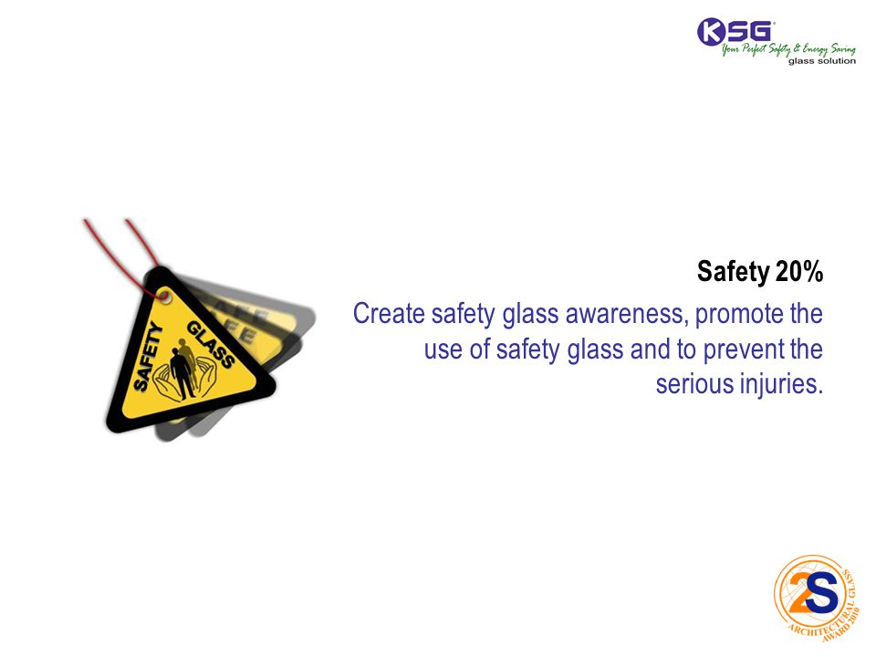 Safety 20% Create safety glass awareness, promote the use of safety glass and to prevent the serious injuries.