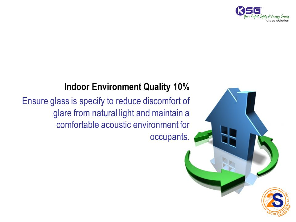Indoor Environment Quality 10% Ensure glass is specify to reduce discomfort of glare from natural light and maintain a comfortable acoustic environment for occupants.