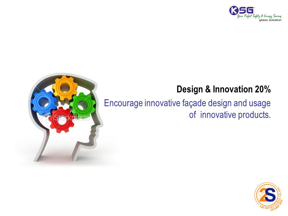 Design & Innovation 20% Encourage innovative façade design and usage of innovative products.