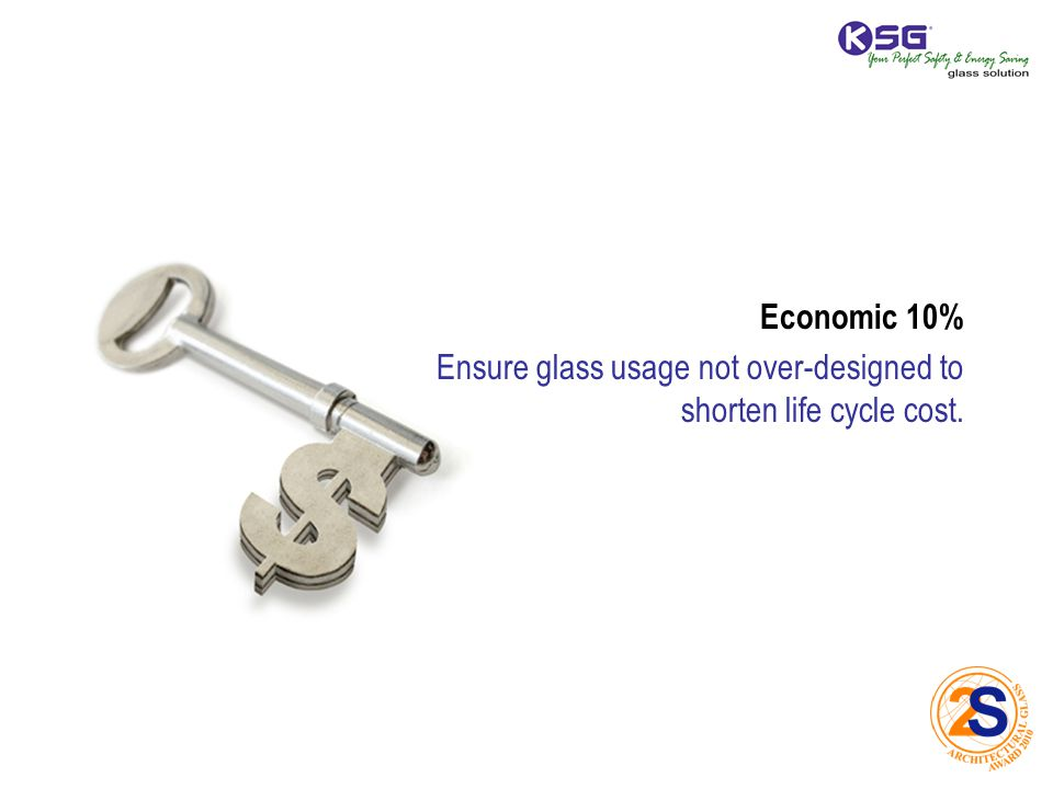 Economic 10% Ensure glass usage not over-designed to shorten life cycle cost.