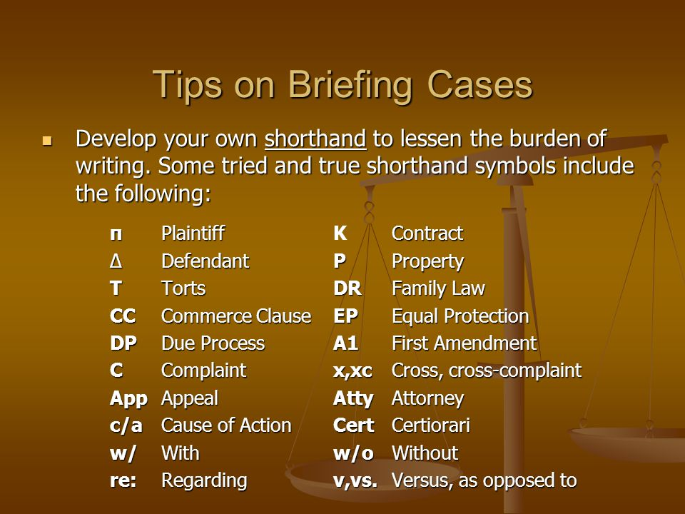 Legal Research Writing How To Brief A Case Common Elements Of