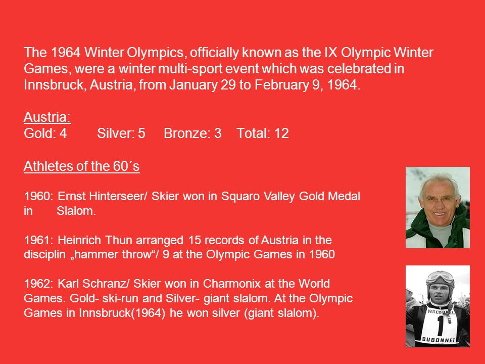 The 1964 Winter Olympics, officially known as the IX Olympic Winter Games, were a winter multi-sport event which was celebrated in Innsbruck, Austria, from January 29 to February 9, 1964.
