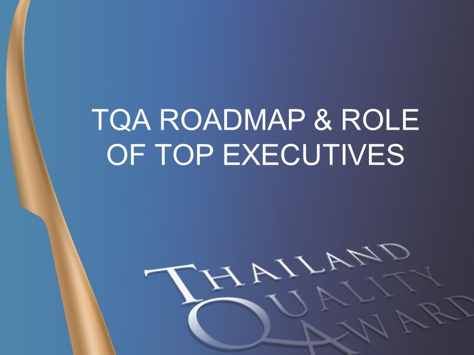 TQA WINNER CONFERENCE 17 – 08 - 06 1 TQA ROADMAP & ROLE OF TOP EXECUTIVES