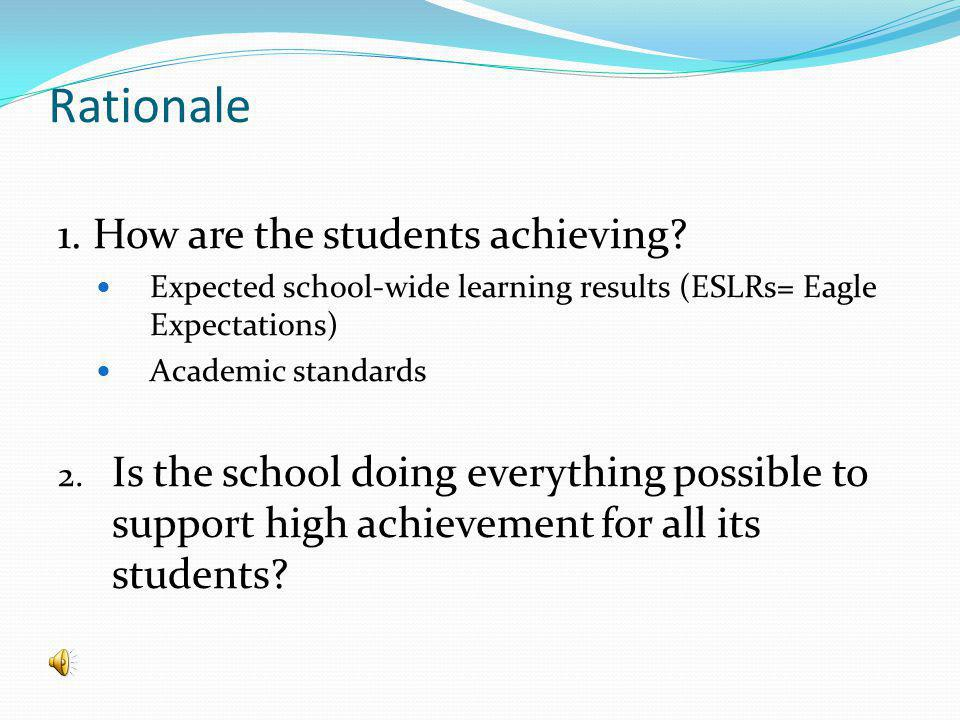 Rationale 1. How are the students achieving.