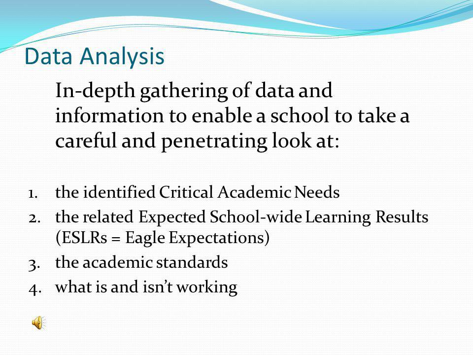 Data Analysis In-depth gathering of data and information to enable a school to take a careful and penetrating look at: 1.
