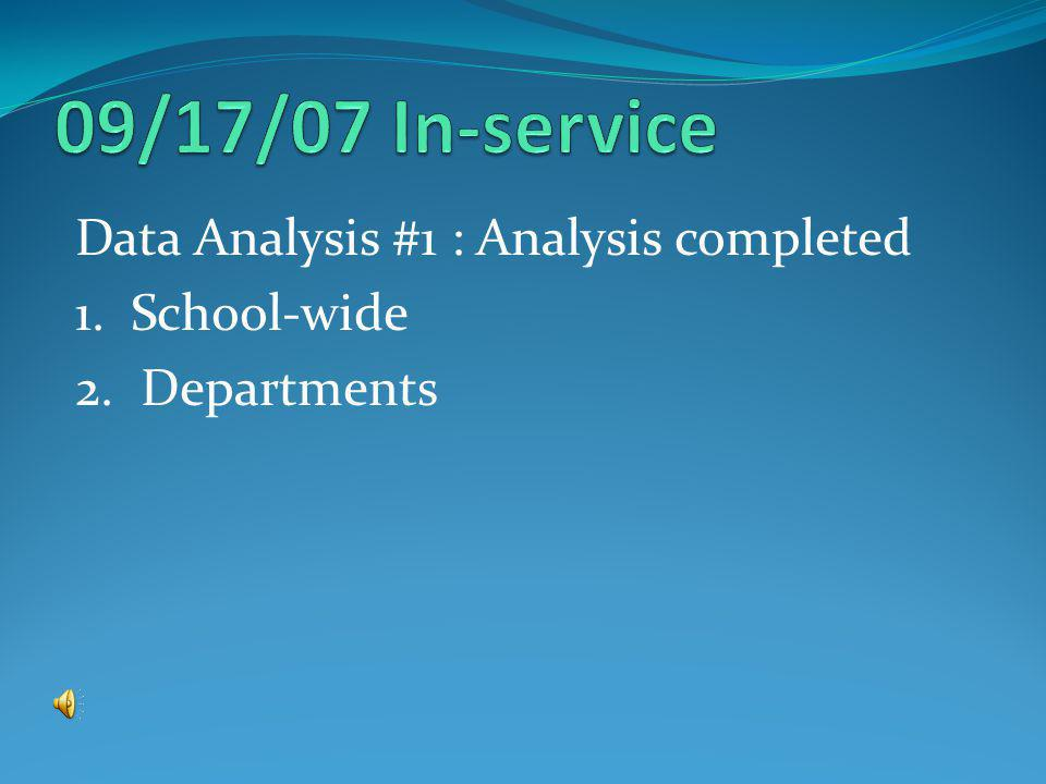 Data Analysis #1 : Analysis completed 1. School-wide 2. Departments