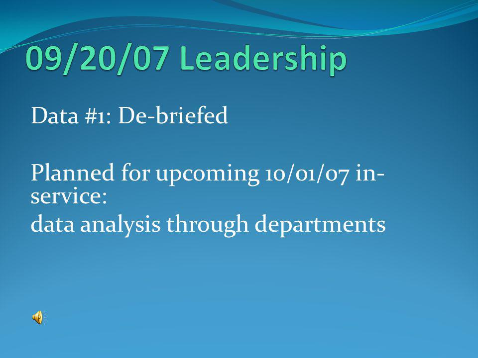 Data #1: De-briefed Planned for upcoming 10/01/07 in- service: data analysis through departments