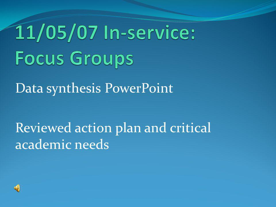 Data synthesis PowerPoint Reviewed action plan and critical academic needs