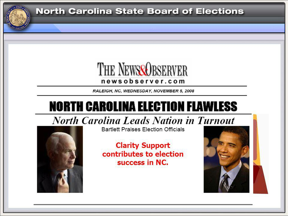 HELP! Clarity Support contributes to election success in NC.
